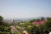 Cityscape of Sabae city and Nishiyama park, Fukui Prefecture, Honshu, Japan
