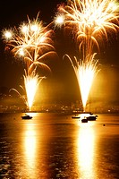Fireworks exploding in sky, long exposure, Zushi city, Kanagawa prefecture, Japan
