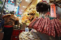 Dried Chinese sausages for sale, Causeway Bay, Hong Kong, China