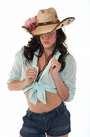 Attractive woman with fancy cowboy hat