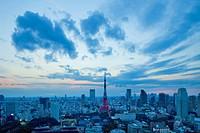 Cityscape of Minato Ward at dusk