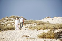 Rear view of a senior couple walking on the beach (thumbnail)