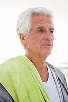 Close_up of a senior man at beach
