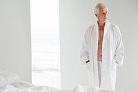 Senior man wearing a bathrobe