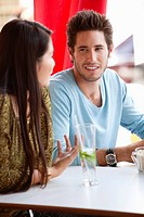 Couple having discussion in a restaurant