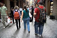 People walking down the street, Barcelona, Cataluña, Spain