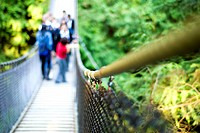 People on Lynn Canyon Suspension Bridge, Lynn Canyon Park, North Vancouver, B.C., Canada
