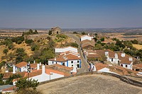 Looking down at the terracotta roofed houses in Monsaraz, Portugal