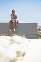 Teenage boy using a digital tablet
