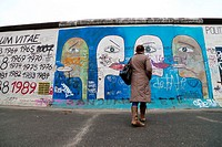 Remaining section of the Berlin Wall at the East Side Gallery in Berlin, Germany