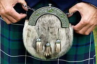 A sporran, a purse or pouch worn around the waist over a kilt  Part of male traditional Scottish national dress costume