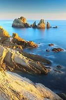 Urros de Liencres rocky isles, Costa Quebrada, Piélagos, Cantabria, Spain