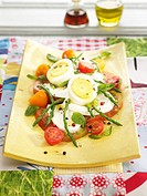 Tomato,mozzarella,hard_boiled egg and green asparagus salad