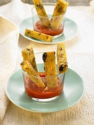 Black olive polenta sticks and tomato salsa