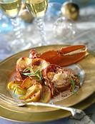 Lobster with apples and pink peppercorns