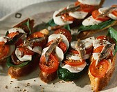 Tomato,mozzarella and anchovies on toast