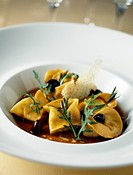 Tortellonis stuffed with rabbit and olives,balsamic vinegar sauce