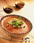 Coffee tart with chocolate sauce