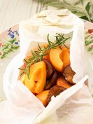 Rosemary_flavored peaches and plums cooked in wax paper