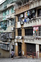 Macanese apartment buildings in central Macau  Macau  China.
