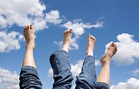 Feeling relaxed and letting the bare feet air out in the sun