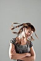 portrait of young woman with crazy hairstyle
