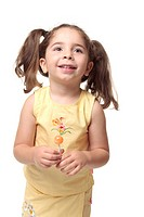 Happy smiling preschool girl in pigtails