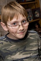 Portrait of boy age 11 with a Harry Potter look-alike  St Paul Minnesota MN USA