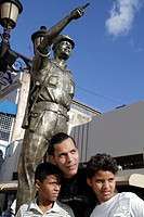 Dominican Republic, Santo Domingo, Ciudad Colonial, Calle el Conde Peatonal, pedestrian mall, Hispanic, man, boy, teen, father, son, statue, Colonel F...