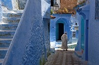 alley with blue houses and stairway, Chefchaouen, Morocco