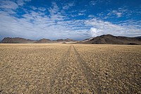 View of track over steppe habitat, Altai Mountains, Bayan_Ulgii, Western Mongolia, october
