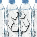 Plastic water bottles and recycling symbol