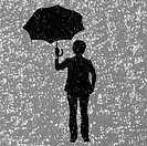 Silhouette of man holding two umbrellas in snow