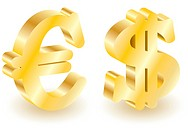 Dollar and euro money 3d symbols.