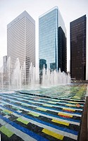 Fountain by Yaakov Agam, La Defense business district, Paris, France