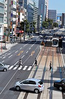 Hiroshima (Japan): streetcar along Aioi-dori, in the city center