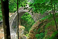 medieval stone bridge ponte romano called roman bridge - near village of corcapolo - centovalli valley - canton of ticino - switzerland