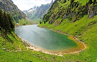 lake falensee or fahlensee - alpstein mountain range - canton of appenzell-innerrhoden - switzerland