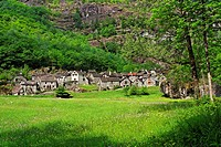 traditional stone houses - village of sonlerto - bavona valley - canton of ticino - switzerland