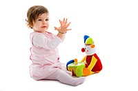 Baby playing isolated