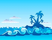 Seascape with palm island and waves _ color illustration.