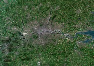 London, Uk, True Colour Satellite Image. London, England, UK. True colour satellite image of London, the capital city of UK. Image taken on 19 June 20...