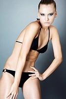 model in black lingerie