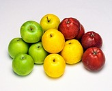 Golden, Red Delicious and Granny Smith apples
