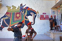 Guards,City Palace,paintings on the wall at the entrance of the palace,Udaipur, Rajasthan, india