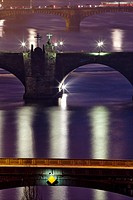 architecture, bohemia, bridge, building, Charles bridge, city, cityscape, Czech republic, dusk, Europe, evening, historic, illuminated, landmark, ligh...
