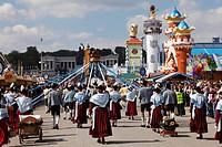 Germany, Bavaria, Upper Bavaria, Munich, Local costume group at Oktoberfest procession