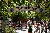 Germany, Bavaria, Munich, People in aumeister beer garden in english garden