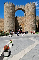 Europe, Spain, Castile and Leon, Avila, View of medieval city wall gate and Puerta de los Leales