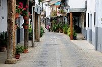 Europe, Spain, Extremadura, Guadalupe, View of narrow lane in old town